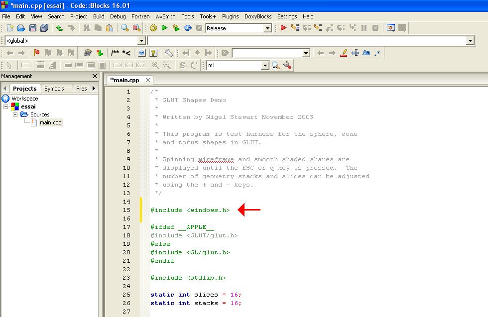Programmation 3D avec codeblocks et OpenGL